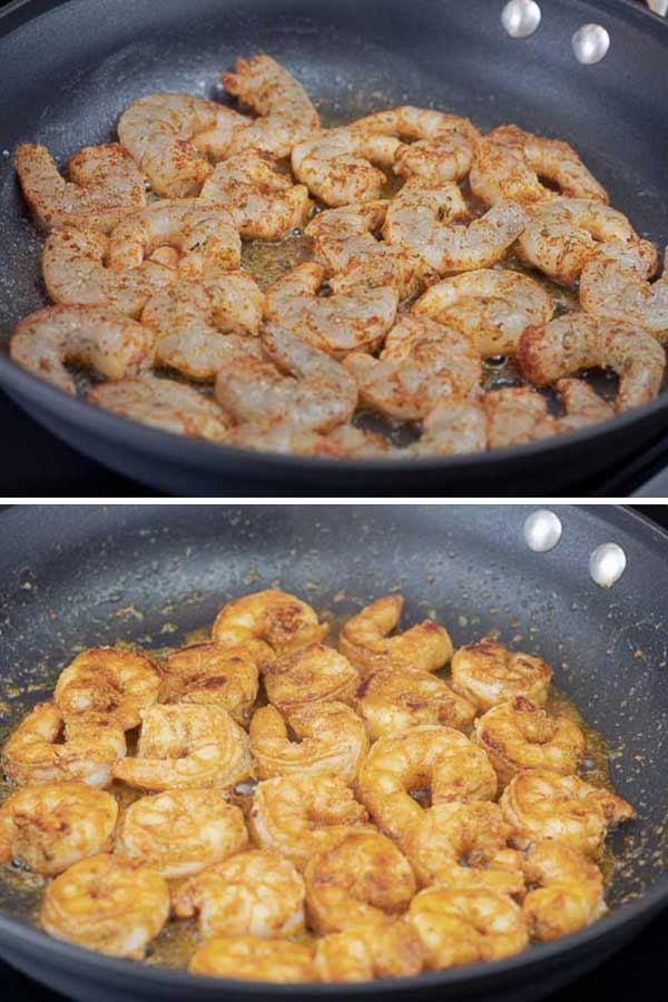 two pictures of shrimp, the first almost raw and the second cooked.