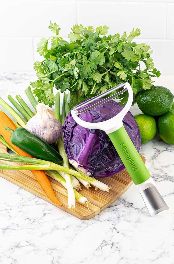 ingredients for cilantro lime slaw