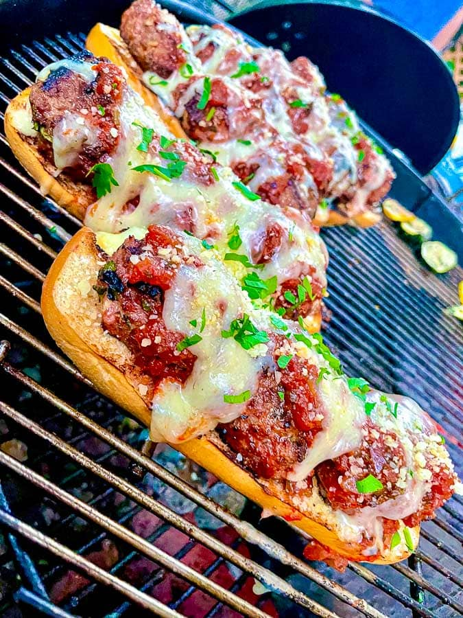 Grilled meatball sub sandwiches