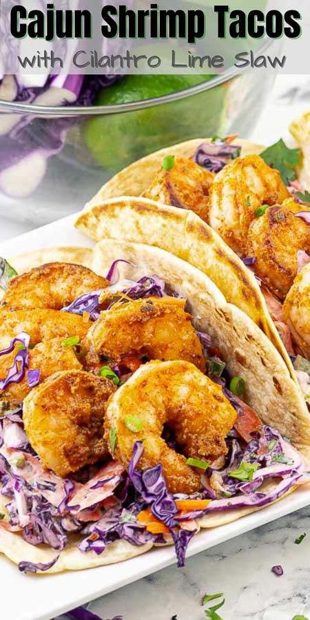 pinterest image of cajun shrimp tacos