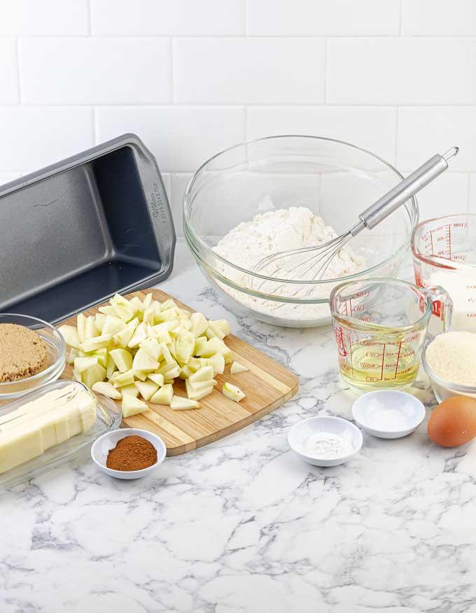 ingredients for apple cinnamon swirl loaf