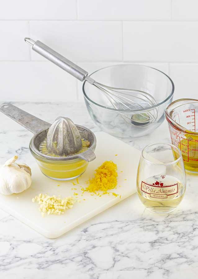 Marinade ingredients for Grilled Chicken Spiedini Kabobs