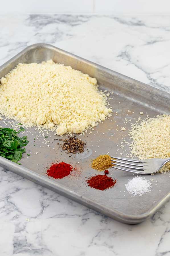 metal tray with breading ingredients for Grilled Chicken Spiedini Kabobs