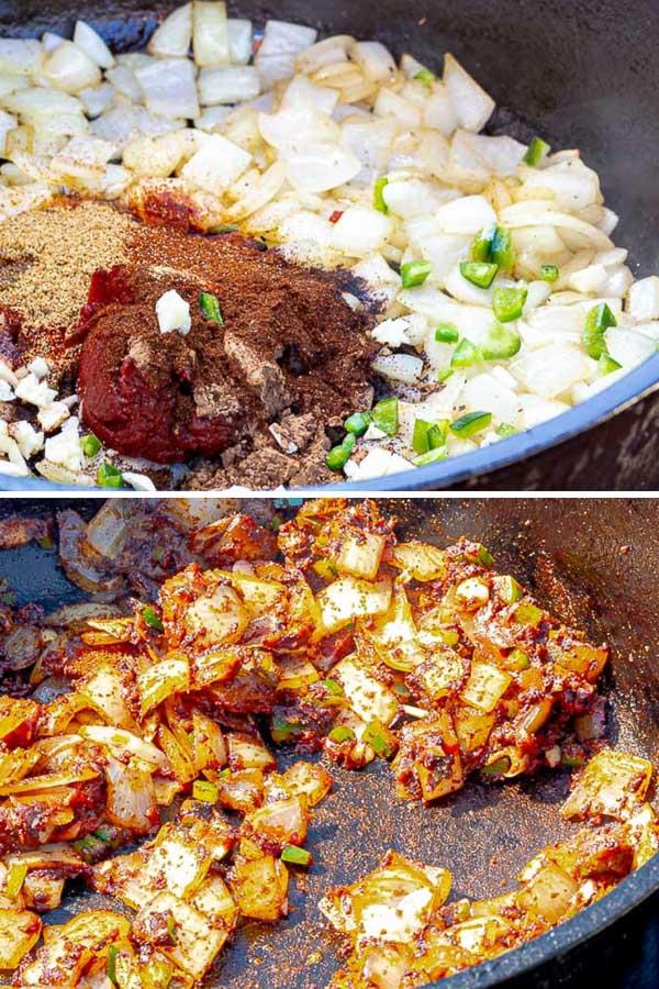 smoked chuck roast chili in process