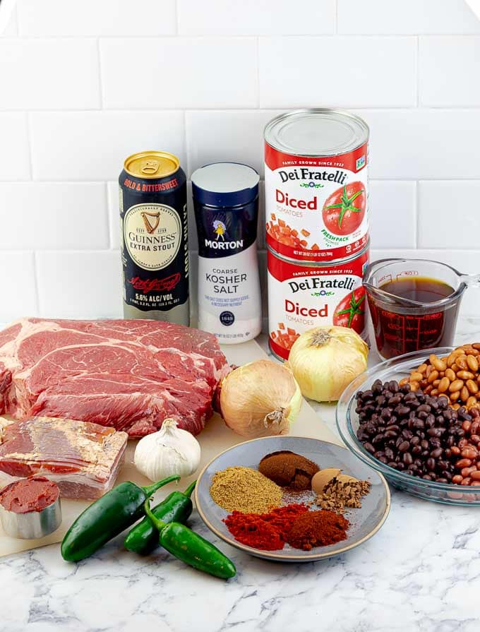 ingredients for smoked chuck roast chili